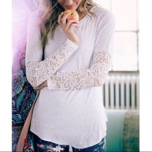 Anthro Bordeaux Lace Dolman Sleeve Knit Tunic Tee